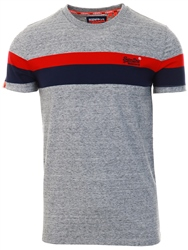 Superdry Collective Dark Grey Grit Orange Label Classic Wide Stripe T-Shirt