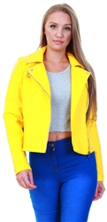 Noisy May Yellow / Lemon Chrome Leather Look Jacket