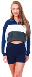 Navy / White / Charcoal Half Zip Crop Sweater by Brave Soul