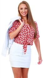 Brave Soul Red Floral Tie Short Sleeve Top