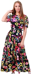 Influence Black Floral Maxi Balloon Sleeve Tea Dress