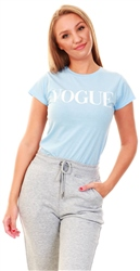 Influence Powder Blue Vogue Print T-Shirt