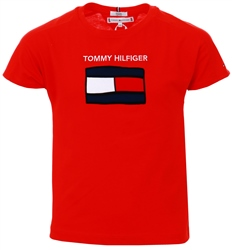 Tommy Jeans Deep Crimson Junior Organic Cotton Flag T-Shirt