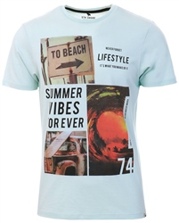 Sth Shore Pastel Blue Lifestyle Printed T-Shirt