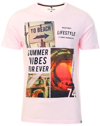 Sth Shore Blushing Pink Lifestyle Printed T-Shirt