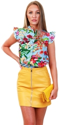 Cutie London Floral Print Frill Top