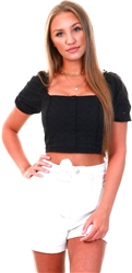 Brave Soul Black Crop Puff Sleeve Top