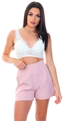 Club L Soft Pink Tailored Shorts