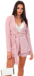 Club L Soft  Pink Tailored Belted Blazer