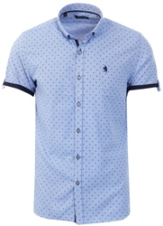 Alex & Turner Blue Pattern Short Sleeve Shirt