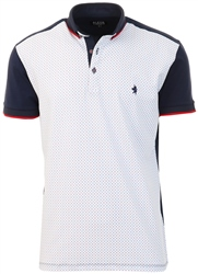 Alex & Turner Navy / Red / White Pattern Polo Shirt