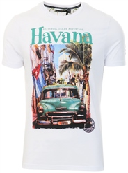 Brave Soul White Printed Short Sleeve T-Shirt