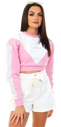 Goodfornothing Pink / White Cropped Sweatshirt