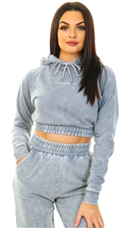 Goodfornothing Grey Acid Wash Cropped Hoodie