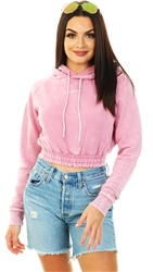 Goodfornothing Pink Acid Wash Cropped Hoodie