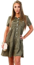 Qed Khaki Button Up Smock Dress