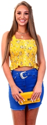 Qed Yellow Floral Pattern Crop Top