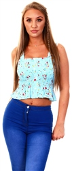 Qed Light Blue Floral Pattern Crop Top