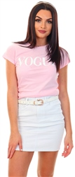 Pink Vogue Print T-Shirt by Missi London
