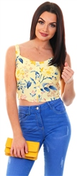 Only Yellow / Pineapple Slice Cropped Printed Top