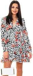 Girl In Mind White Leopard / Floral Tie Waist V Neck Mini Dress