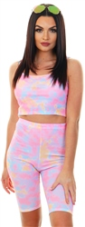 Missi Lond Tie Dye Ribbed Cropped Top