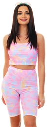 Missi Lond Tie Dye Ribbed Cycle Shorts
