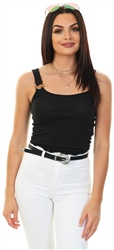 Only Black Cropped Rib Top