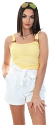 Pineapple Slice / Yellow Cropped Rib Top by Only