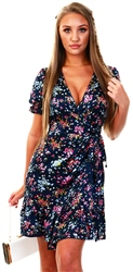 Qed Navy Floral Pattern Wrap Front Dress