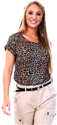 Black / Leopard Basic Short Sleeved Top by Only