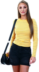 Sporty Ochre Retro Stripe Long Sleeved Top by Superdry
