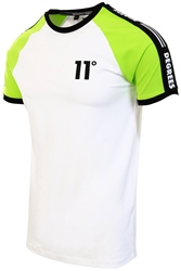White/Lime Green Taped Ringer T-Shirt by 11degrees