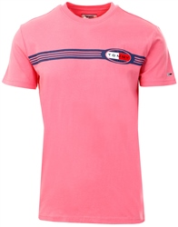 Tommy Jeans Rosey Pink Lines Logo Organic Cotton T-Shirt