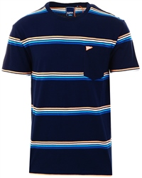 Superdry Rich Navy Box Fit Stripe Pocket T-Shirt