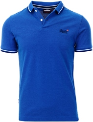 True Blue Twist Organic Cotton Classic Poolside Pique Polo Shirt by Superdry