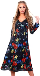 Black Floral Midi Long Sleeve Dress by Brave Soul