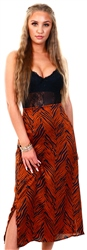 Brave Soul Brown Zebra Print Satin Midi Skirt