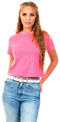 Tommy Jeans Glamour Pink Logo Neck Organic Cotton Cropped T-Shirt