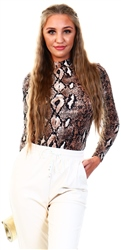 Brave Soul Snake Print High Neck Body Suit