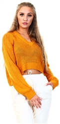 Noisy May Inca Gold / Gold V Neck Knitted Pullover