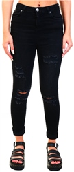 11degrees Black High Waisted Rip And Repair Skinny Jeans