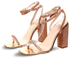 Public Desire Rose Gold Mirror Lavish Block Heel