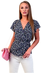Ax Paris Navy Floral Wrap Top