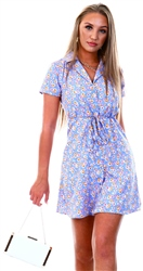 Qed Blue Floral Print Mini Dress