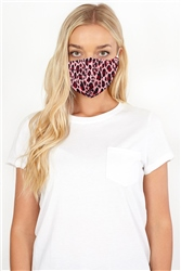 Brave Soul Pink Leopard Print Fashion Face Mask