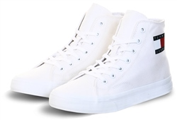Tommy Jeans White Cotton High-Top Trainers