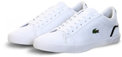 Lacoste White Lerond Tumbled Leather And Synthetic Trainers