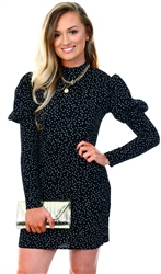 Brave Soul Black/White Puff Shoulder Polka Dot Dress