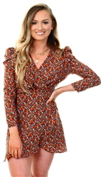 Brave Soul Red Print Combo Puff Shoulder Dress